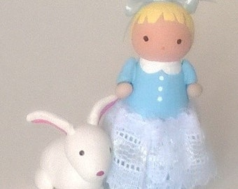 Alice in Wonderland Peg Doll and White Rabbit Miniature OOAK Polymer Clay Doll Figurine Fairy Tale Gift Cute Collectible Bunny
