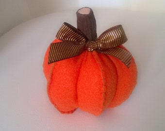 Stuffed Pumpkin Orange Fabric Halloween Holiday Trick or Treat Figurine ooak Fall Autumn Home Decor