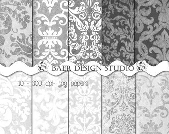Gray Digital Paper, Distressed Grey Digital Paper, White Damask Digital Paper, Gray Damask Digital Paper, Textured Digital Paper #14056
