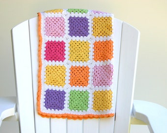 Pastel Crochet Baby Blanket - Handmade Granny Square Throw 100% Superwash Wool - Lemon, Tangerine, Pink, Watermelon, Purple and Lime