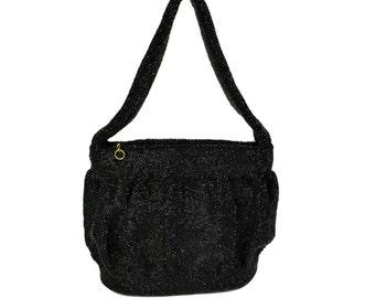 Black Art Deco Glass Bead Purse // Large Vintage Iridescent Beaded Evening Bag // 1930s Sparkling Black Beaded Handbag