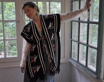 Woven Wool Hippie Poncho/Vintage 1960s 1970s/Blue With White Birds/Fringes Open Sides Tie Front/One Size