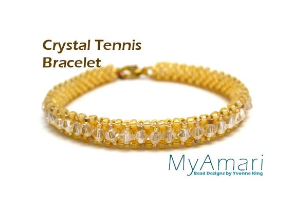 Crystal Seed Bead Bracelet Pattern // Gold // Right Angle Weave // Beadweaving // 3mm Beads