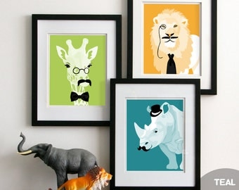 Nursery childrens art prints, Jungle animals with Mustaches ,unframed set of 3, funny kids art silly safari animals rhino giraffe zebra lion