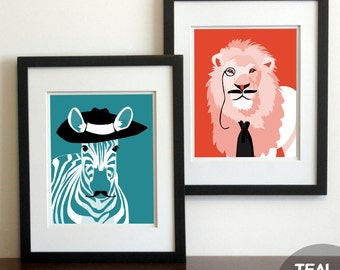 Nursery childrens art prints, Jungle animals with Mustaches ,unframed set of 2, funny kids art silly safari animals rhino giraffe zebra lion