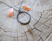 Leather Dreamcatcher Necklace with Brass Spike