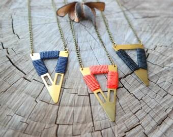 Long Boho Style Necklace with Triangle - black/ orange/ navy