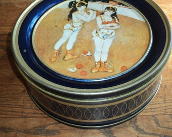 Vintage Renoir Lithographic Printed Metal Tin Container with 2 portraits on each side with wonderful well developed patina