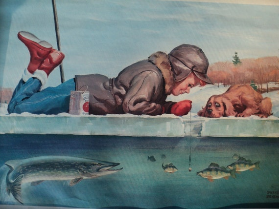 Very valuable vintage rare duane bryers lithographic print of for Ice fishing bibs sale