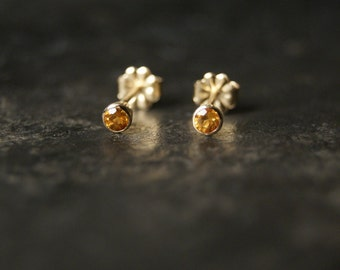 SALE...Tiny Faceted Round Citrine Tapered Stud Earrings in 14kt Yellow Gold