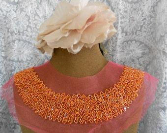 Iridescent Orange Beaded Appliques