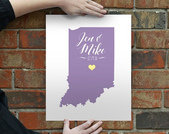 Indiana Map Script Wedding Gift - Personalized State and Heart - Custom Wedding Date - Location City and State Modern Art Print - 8x10