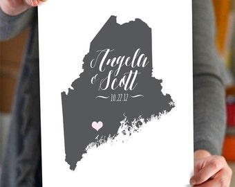 Maine Map - Script Wedding Gift - Personalized Maine State and Heart - Custom Wedding Date - Location City and State Modern Art Print