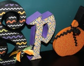 SPOOKY letter set with black cat and Pumpkin, Halloween Decoration