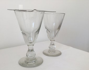 absinthe Pair of Large French vintage glasses 19th century 2 vintage Large glass Bistrot
