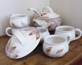 RESERVED FOR CHERYL Stoneware tureen set, soup bowls, serving bowl, autumn leaf pattern, Mossy Creek Pottery, made in Oregon, stoneware soup