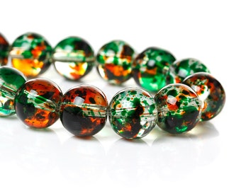 410 Glass Beads - WHOLESALE - Multicolor - 10mm - 5 Strands - Ships IMMEDIATELY from California - B1218a