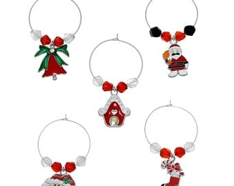 Christmas  Wine Glass Charms - Mixed Styles - Table Decorations - 40x35mm - 1Set (5pcs) - Ships IMMEDIATELY from California - SC1176