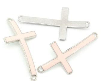 5 Cross Connectors - Antique  - Light Pink Enamel - 46x23mm - Ships IMMEDIATELY from California - SC1179