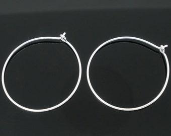 25 Earring Hoops - Silver - Wine Glass Rings - 29x25mm - Ships IMMEDIATELY from California - SC1183