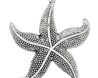 3 Starfish Pendants - LARGE - Antique Silver-  49x43mm - Ships IMMEDIATELY from California - SC1185