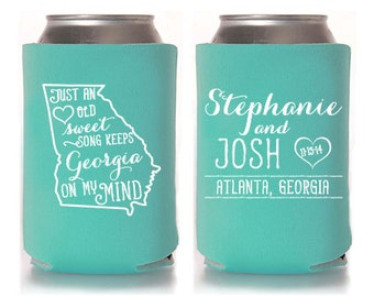 Custom Wedding Favor - Just an Old Sweet Song Can Coolers
