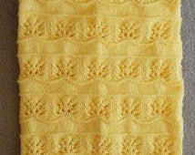 New Handmade HONEY YELLOW Knit Crochet Baby Afghan Blanket Throw Newborn Infant Soft Floral