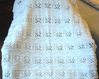NEW Handmade WHITE Knit Crochet BABY Afghan Blanket Throw Newborn Infant Soft Floral