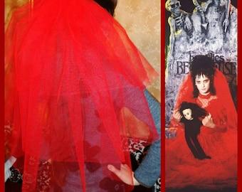 Halloween party Veil 3-tier red, Halloween costume idea. Lydia Deetz halloween costume veil. Bachelorette veil, long length. Halloween night