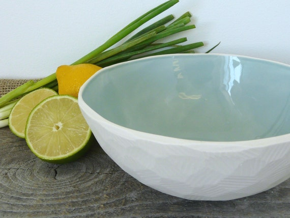 Geometric Serving Bowl, Size Medium, Faceted Edge, 9 color options available