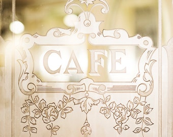 Paris Cafe Photograph, Cafe Door, Cafe Sign on Glass Door, Travel Architecture Photo, French Home Decor, Large Wall Art, Urban Wall Decor