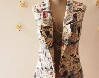 Women Vest Love Journey in Navy Blazer Voyage and Letter Chic Collar Vest  : Play Blazer or semi formal style - Size S-M