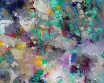 """Large Abstract Expressionist Painting, Colorful Original ion Canvas, Green, Blue """"Under a Leafy Canopy"""""""