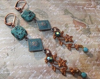 Aqua Green Copper Clad Brass With Vintage Brass, Vintage Crystals & Glass Bead