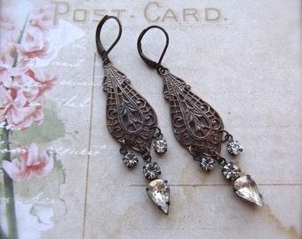 Vintage Style Filigree Earrings With Vintage Swarovski Crystals