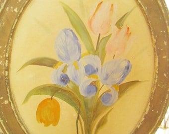 Vintage oil painting iris's  shabby chic romantic vintage prairie