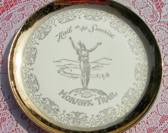 40s 50s HAIL To The SUNRISE Mohawk Trail Souvenir Plate Native American Indian Massachusetts