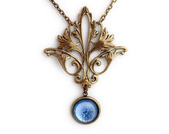 Fleur de Lis Necklace, Blue Glass Necklace, Fleur de Lis Pendant, Blue Necklace, Fleur de Lis Jewelry, Brass Nickel Free Necklace, Dolana