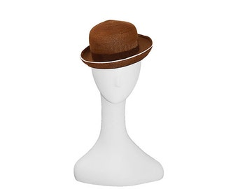Vintage Straw Hat, Derby Style, Chocolate Brown, White Piping, 1970s