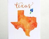 Texas state art print watercolor map home decor hand lettering