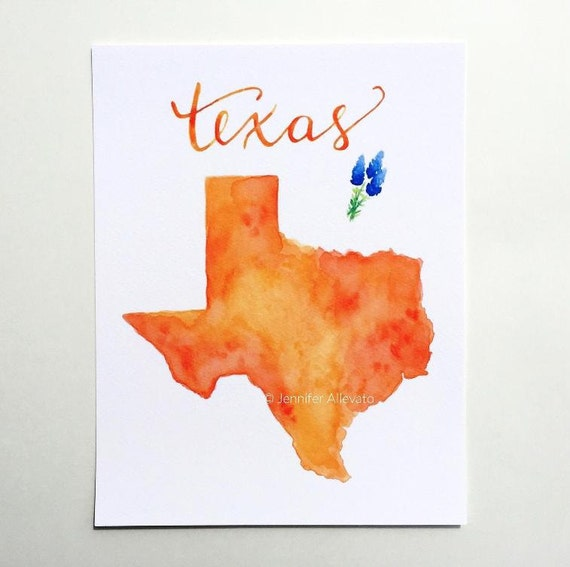 texas state art print watercolor map home decor hand lettering texas home decor etsy