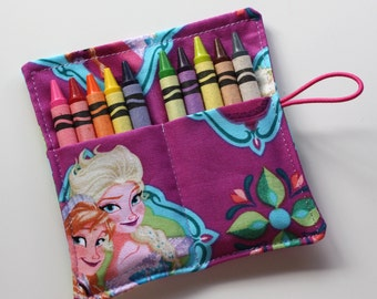 Crayon Roll made from Frozen Elsa & Anna fabric, holds up to 10 Crayons, Birthday Party Favors