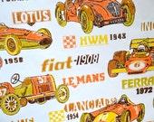Antique Car Wallpaper, Vintage 1970s Classic Car Wallpaper, Le Mans, Ferrari, Fiat, Lotus, Green, Orange, Yellow, Brown Home Decor