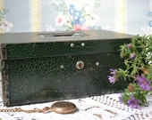 Vintage Parplus Metal Storage Box, Industrial Decor, Green Strongbox, Metal Lock Box, Marbleized Document Holder, Mid Century Decor, No Key