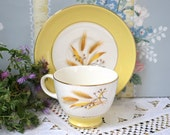 Century Service Company, Autumn Gold Cup and Saucer Set, Yellow Band Wheat, Footed Tea Cup, Yellow Tea Cup, China Replacement