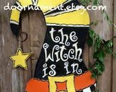 "Screen Wire Black Yellow Orange and White Funky Halloween Witches Hat with ""The Witch is In"" Door Hanger Wreath, Halloween Door Hanger"