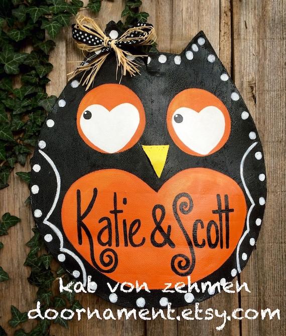 Thanksgiving Door Hanger Door Hanger Screen Fall Halloween ~ 102409_Halloween Owl Door Hanger