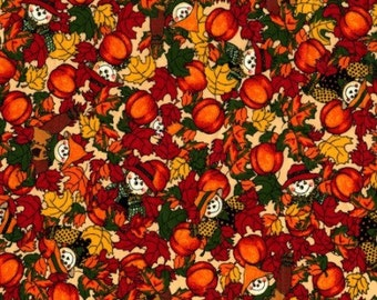 Scarecrow, Harvest Time, Leaves, Fall Fabric, Harvest Fabric, Orange Fabric, Leaf Fabric, 10233
