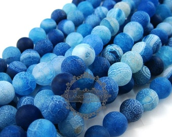 1string 15inch string,about 38pcs,10mm round shape blue dyed weathered agate loose beads findings supplies 3110167