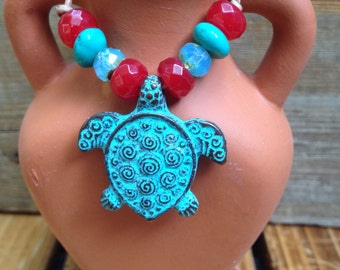 Mykonos Turtle Necklace Verdigris Patina Turtle with Gemstones on a Leather cord necklace Boho Necklace.